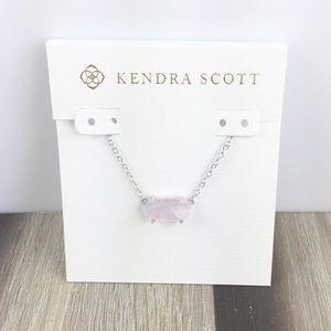 Kendra Scott Ever rose quartz silver necklace